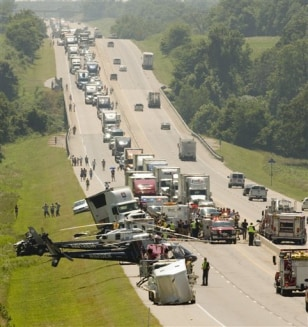 IMAGE: Aftermath of Oklahoma highway accident
