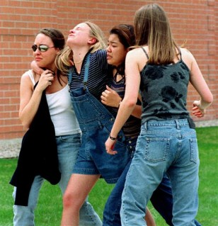 Image: Students fleeing Columbine attack