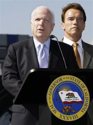 Sen. John McCain, R-Ariz., and Gov. Arnold Schwarzenegger, R-Calif.