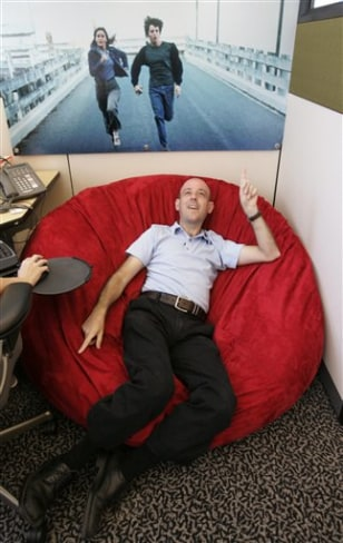 Image: Google Technology Director Craig Silverstein, who was Google's first employee, sits on his beanbag chair in his office at Google headquarters in Mountain View, Calif.