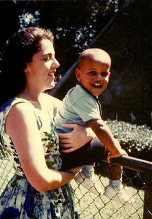 Image: Obama as a child with his mother.