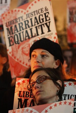 Gay MarriagImage: Same-sex marriage candle-light vigil