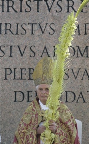 Image: Pope Benedict XVI holds a woven palm frond