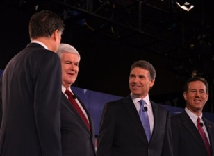 Image: Romney, Gingrich, Perry and Santorum