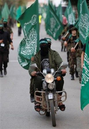 Image: Masked Palestinian Hamas members