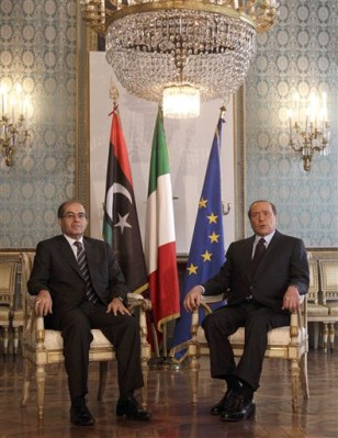 Image: Berlusconi and Libyan National Transitional Council deputy chairm