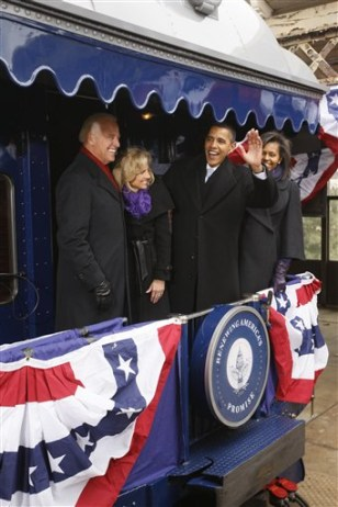Image: Obama, his wife Michelle, Vice President-elect Joe Biden, and his wife Jill Biden.