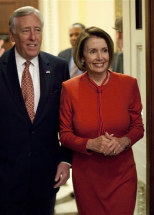 Image: House Majority Leader Steny Hoyer and Speaker Nancy Pelosi arrive for a press conference