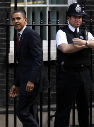IMAGE: Obama arrives at Downing Street