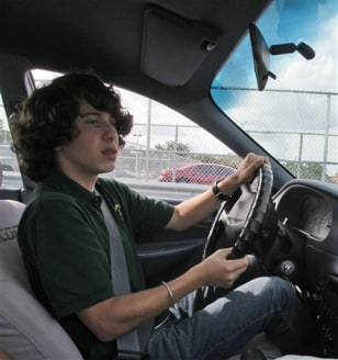 Image: A Miami student in driver's eduction.