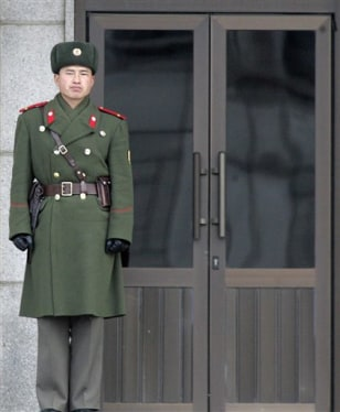 Image: North Korean soldier at a border village