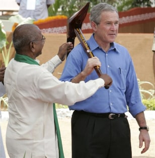 IMAGE: Bush in India
