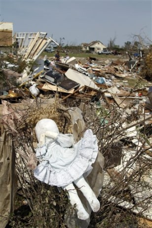 Image: A doll among tornado rubble