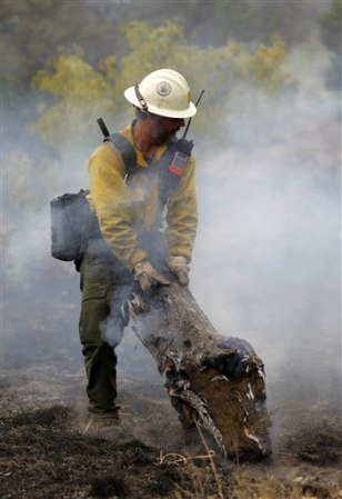 Image: Firefighter Ron Riise, from the U.S. Forest Service in California, pulls a burning stump to a safer spot north of Ranger, Texas