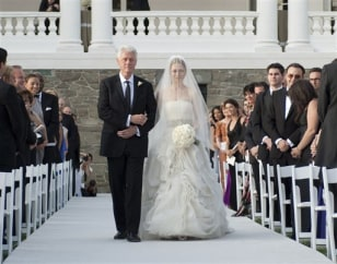 Image: President Bill Clinton walking his daughter Chelsea down the aisle