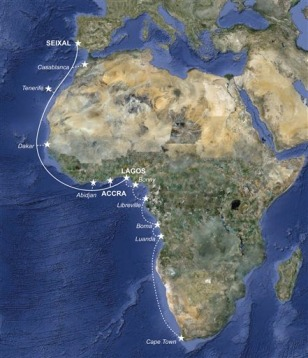 Image: Main One undersea fiber-optic cable along West Africa.