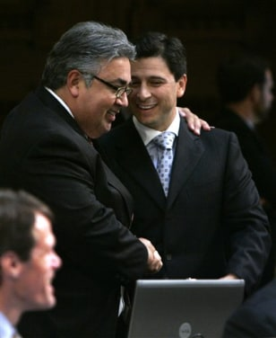 California State Sen. Ron Calderon, D-Monterey Park, left, and Assembly Speaker Fabian Nunez, D-Los Angeles.