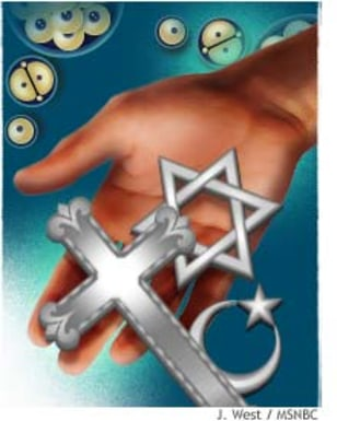 Illustration of hand dropping religious symbols with cloned cells in the background