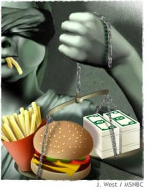 Illustration of blind justice hold a scale with money on one scale and a burger and fries on the other. Fries are in her mouth.