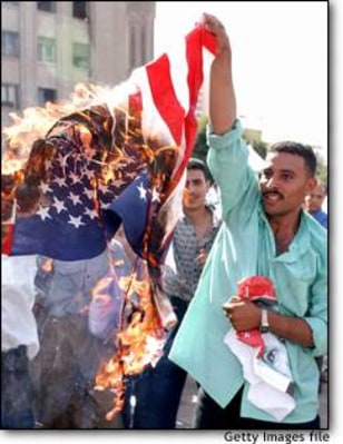 Image: U.S. Flag Is Burned To Mark Two Year Anniversary of Intifada