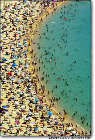 Image: Crowds Flock To Nova Icaria Beach In Barcelona