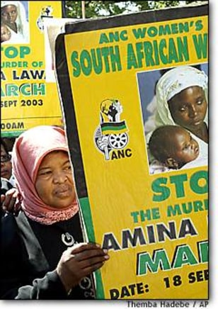 Image: African National Congress Women's League protest Thursday in Pretoria.