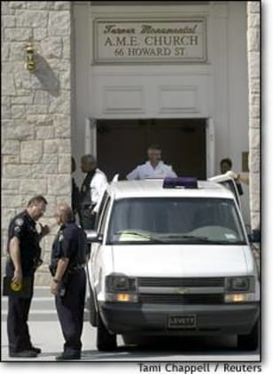 Image: Police Talk Outside Atlanta Church Where Woman Shot And Killed Two Members And Herself