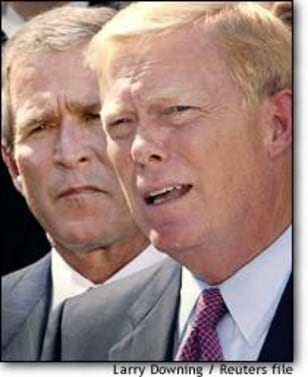 Image: President Bush Listens To Statement About Iraq Alongside Dick Gephardt.