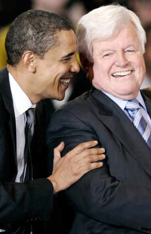 Image: Barack Obama and Ted Kennedy