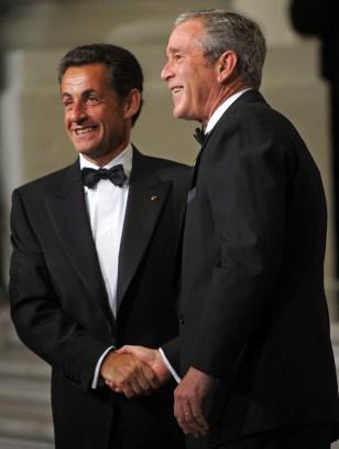 Image: Nicolas Sarkozy, George Bush