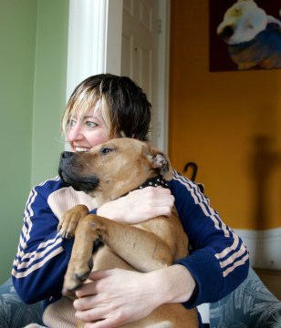 Image: Leslie Nuccio with her pit bull, Hector