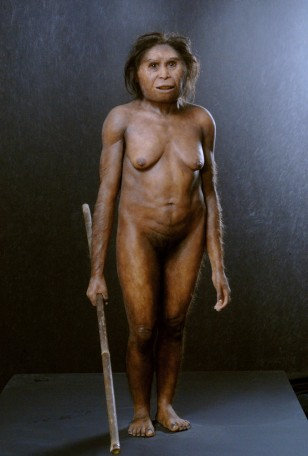 Image: A sculpture based on fossilized remains of possible dwarf human.