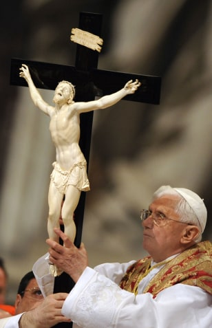Image: Pope Benedict XVI holds the cross