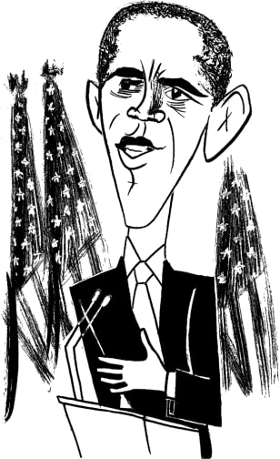 Image: New Yorker illustration of Barack Obama.