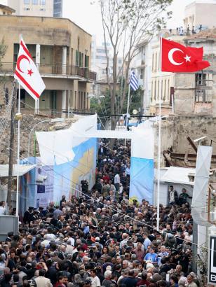 Image: Turkish people gather on Ledra Street in Nicosia, Cyprus