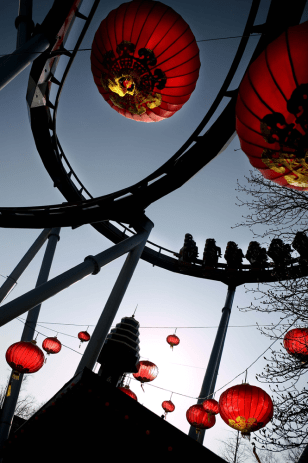 Image: 'The Demon', Tivoli Gardens' roller coaster in Copenhagen, Denmark
