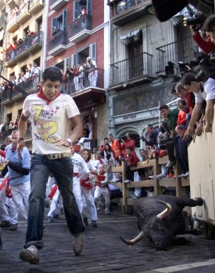 Image: running of the bulls in Pamplona