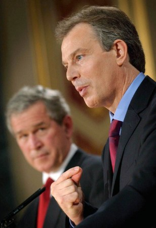 PRESIDENT BUSH WATCHES PRIME MINISTER TONY BLAIR SPEAK IN CENTRAL LONDON
