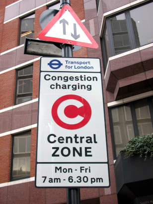 Image: Congestion charge sign.