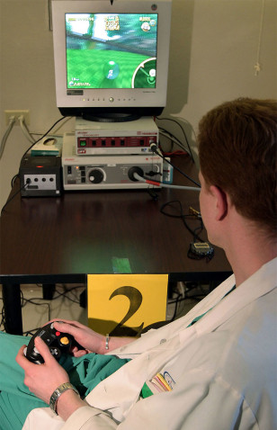 Doctor plays video game