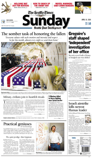 IMAGE: Seattle Times front page with photo of coffins.