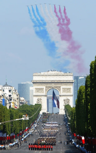 Image: Bastille Day parade in Paris, France.
