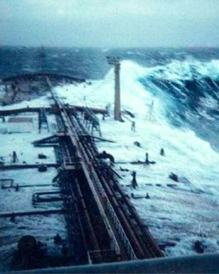 Rogue wave hits supertanker