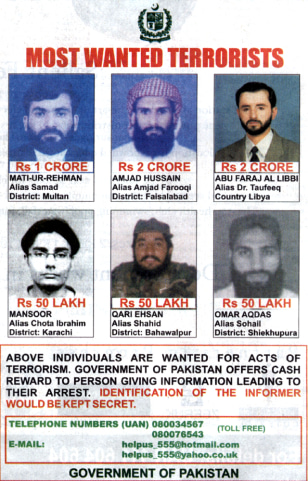 Pakistani government poster of most wanted terrorists