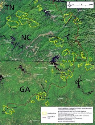 GEORGIA MAP OF TRAIL, ROADLESS AREAS