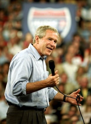 "U.S. President George W. Bush speaks at an event titled ""Ask President Bush"" in Portsmouth, Ohio"