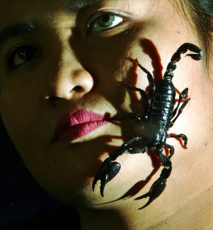 Image: Scorpion on woman's face.