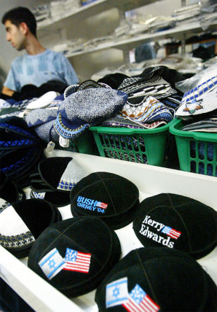 Image: U.S. campaign skullcaps for sale in Jerusalem