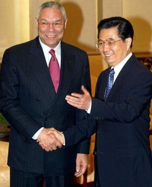 US Secretary of State Colin Powell meets Chinese President Hu Jintao in Beijing