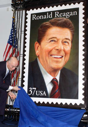 Postal service issues stamp honoring former US President Ronald Reagan is launched in California